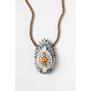 Anthropologie Jeweled Plumes Statement Necklace